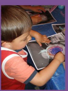 Kid creating Self-Portrait