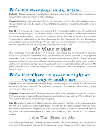 Intro pages that discuss the 3 Rules